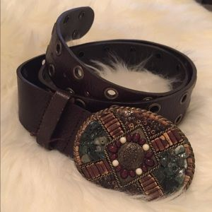 Brown Leather Belt w/ a stunning buckle